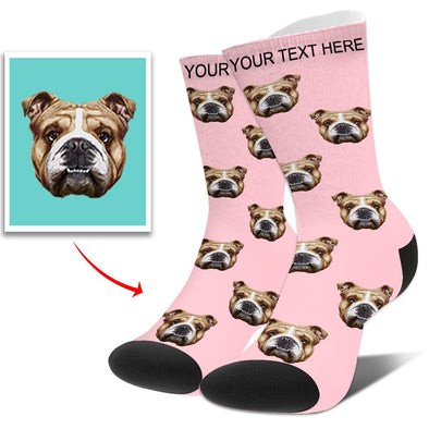 Custom  Photo Funny Dog Cat Socks Unisex