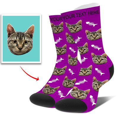Personalized Funny Photo Face Socks With  Dog, Cat, Other Pets Face Photo into Socks