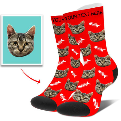 Custom Personalized Funny Face Photo Socks With  Dog, Cat, Other Pets Face Photo into Socks