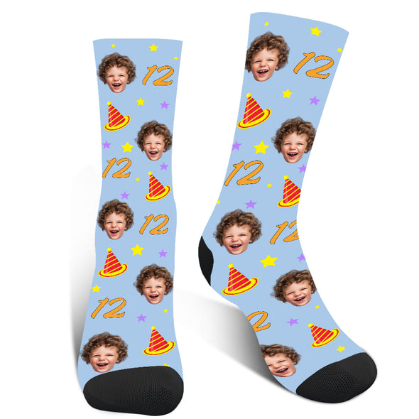 Custom Photo Birthday Age  Face Socks - amlion