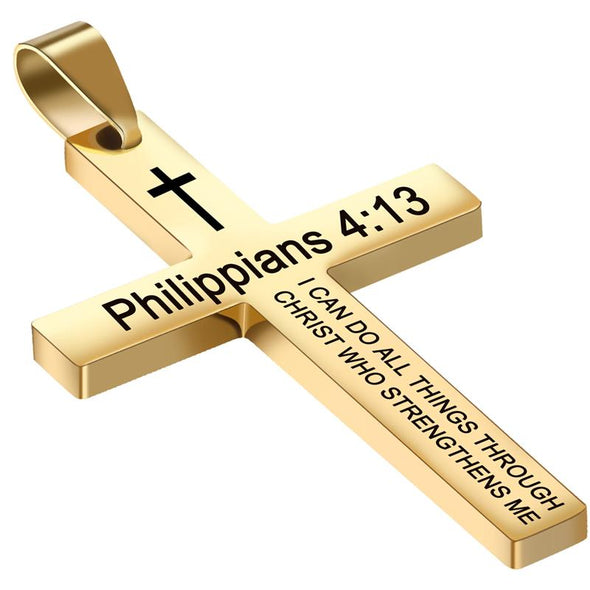 Cross Necklace, Bible Verse Philippians 4:13 Cross Pendant Necklace for Men,Stainless Steel Neckalce Women - amlion