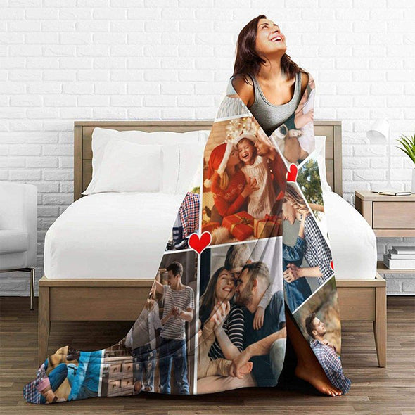 Custom Blankets with 9 Photos Collage, Personalized Throw Blanket Pictures Name Text for Gifts-50X60in
