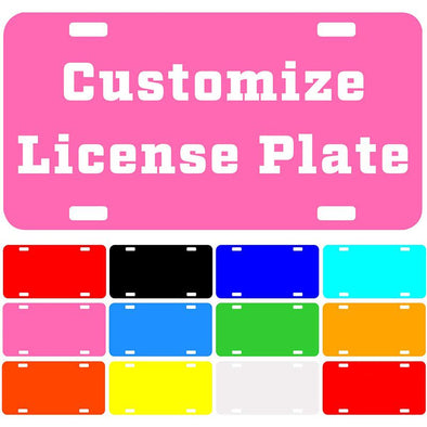 "Custom License Plate with Your Image, Custom Metal Novelty Car Tag-Pink, 12"" x 6"""