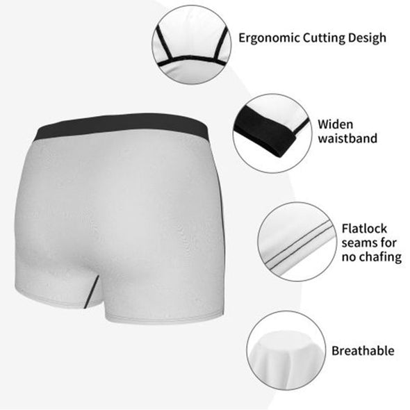 "Mne's Custom Name ""Licked It"" White Boxer Briefs, Personalized Boxer Underwear for Him"