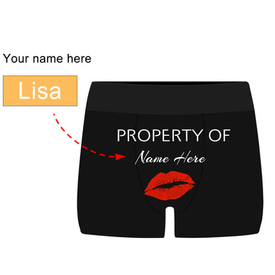 Personalized  Property of Name Black Boxer Briefs - amlion