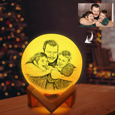 Custom 3D Photo Moon Lamp with Picture Engraved Personalized Gifts For Wife Mom - amlion