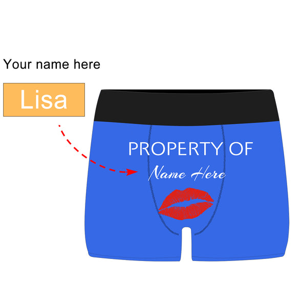 Personalized  Property of Name Blue Boxer Briefs - amlion