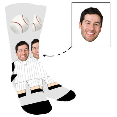 Custom  Photo Baseball Player Face Socks For Men Women Unisex - amlion