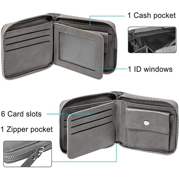 Custom Zipper Bifold Wallet With Photo Engraved, Personalized Wallets for Men-Gray