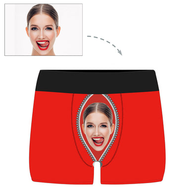 Custom Photo Zipper Face Men's  Boxer Briefs - amlion