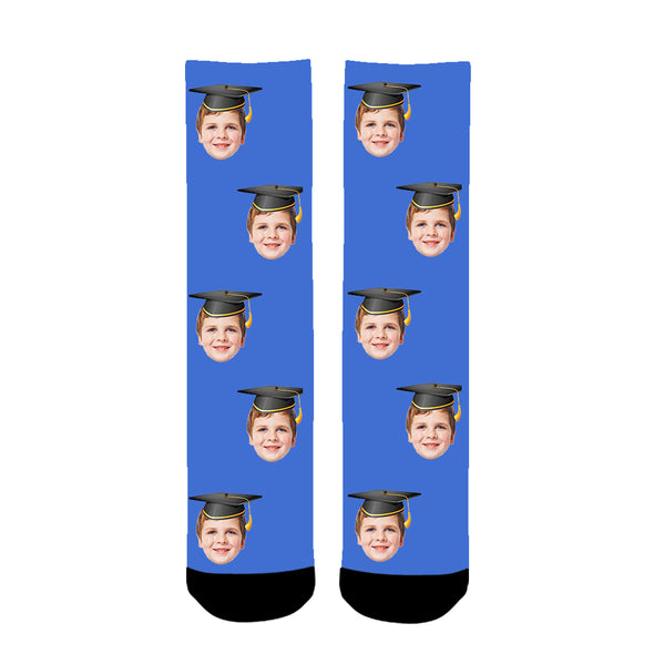 Custom Photo Graduation Colorful Face Socks - amlion
