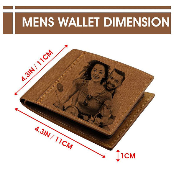 Personalized Wallets with Picture, Custom Trifold Wallets for Him, Dad-Light brown