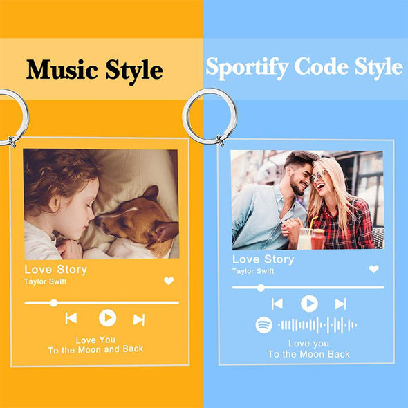 Custom Photo and Music Code Acrylic Keychain, Personalized Scannable Spotify Code Plaque Keychain  for Valentine's Day,Mothers Day