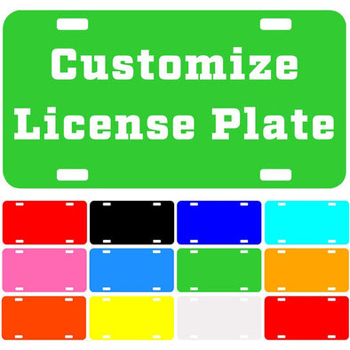 "Custom License Plate with Your Image, Custom Metal Novelty Car Tag-Limegreen, 12"" x 6"""