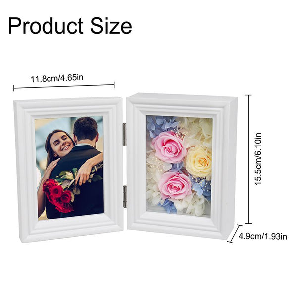 Personalized Eternal Immortal Flower Preserved Rose with Custom Photo Frame for Her-White