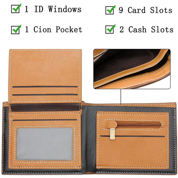 Custom Photo Wallet Engraved,Personalized Wallets for Men,Trifold Leather Wallet-Light Brown