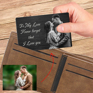 Personalized Metal Black Wallet Card,Custom Wallet Insert Photo Message Card Engraved Gifts for Men, Husband, Dad, Son