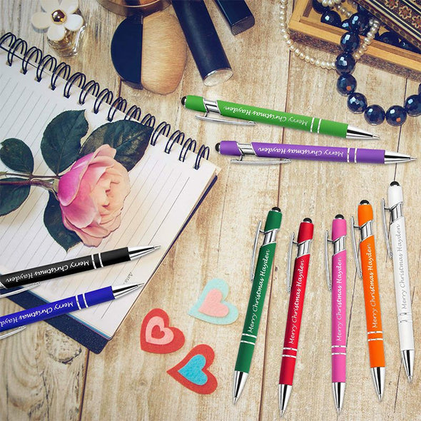 24 Pcs Personalized Purple Pens Bulk with Stylus Tip,Custom Engraving Ballpoint Pens,Black Ink
