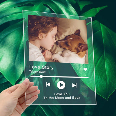 Personalized Photo Acrylic Song Album Cover, Customized Scannable Spotify Code Acrylic Music Plaque for Valentine's Day,Mothers Day