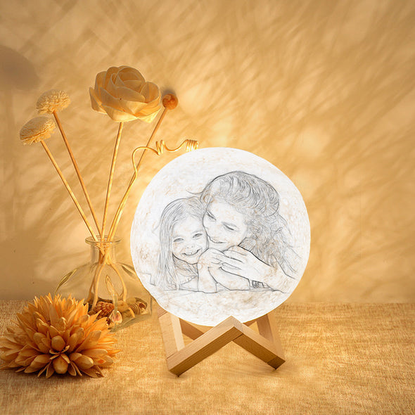 Custom Photo Engraved Moon Lamp | Remote Control To Convert 16 Colors - amlion