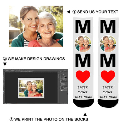 "Custom Photo ""MOM"" Printed Face Socks Gift For Mom - amlion"