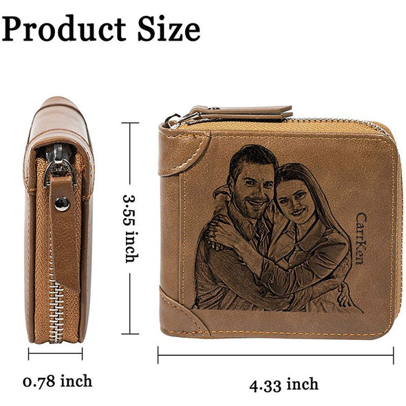 Personalized Wallets for Men,Custom Zipper Bifold Wallet With Photo Engraved-Brown