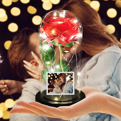 Beauty Red Rose in Glass Dome,Enchanted Rose Led Flower Lamp with Photo Picture for Valentine's Day,Mothers Day