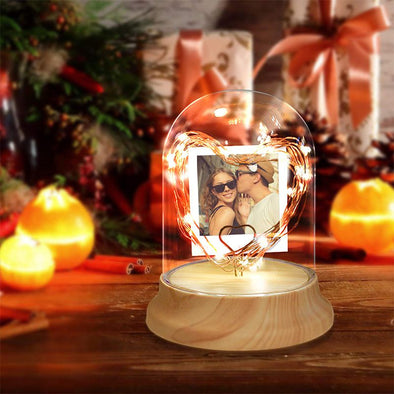 Personalized Photo Night Light in Glass Dome with LED String Light,Personalized Gifts for Christmas,Valentine's Day,Mothers Day