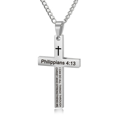 Cross Necklace, Bible Verse Philippians 4:13 Cross Pendant Necklace for Men,Stainless Steel Neckalce,Silver - amlion