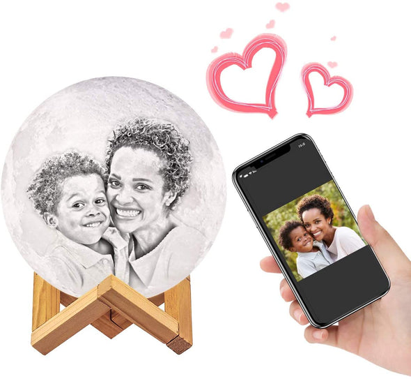 Custom 3D Lunar Lamps With Picture Engraved Stand Personalized Gifts for Mother's Day - amlion