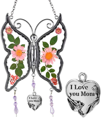 Amlion Personalized Glass Butterfly Suncatcherwith Pressed Flower Wings for Windows, Gift for Mom,Mothers Day - amlion