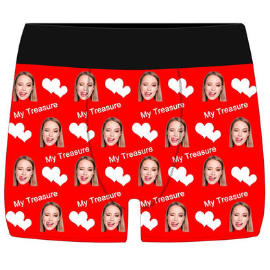 Custom Face Boxers Briefs for Men, Funny Underwears for Men Boys Husband Boyfriend Gifts-Red