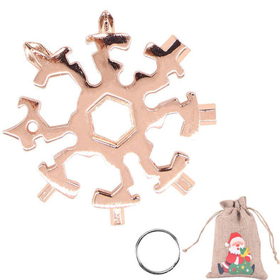 20 in 1 Snowflake Multitool Stainless Steel Combination Tools Screwdriver Christmas Gifts-Rose Gold