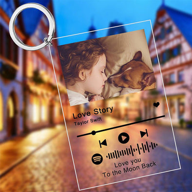Custom Scannable Spotify Code Plaque Keychain, Engraved Music And Photo Acrylic Keychain for Valentine's Day,Mothers Day
