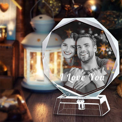 3D Crystal Cube Picture, Photo Personalized & Custom Round Crystal Laser Engraved Photo with Free LED Base Included