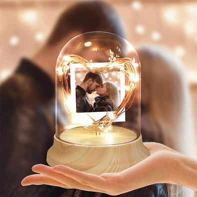 Personalized Photo Night Light in Glass Dome with LED String Light for Christmas,Valentine's Day,Mothers Day