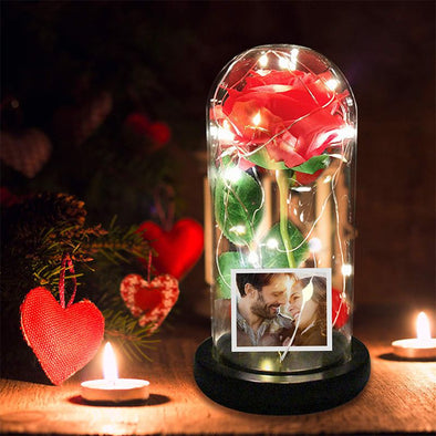 Red Rose in Glass Dome,Enchanted Rose Led Flower Lamp with Photo Picture for Valentine's Day,Mothers Day
