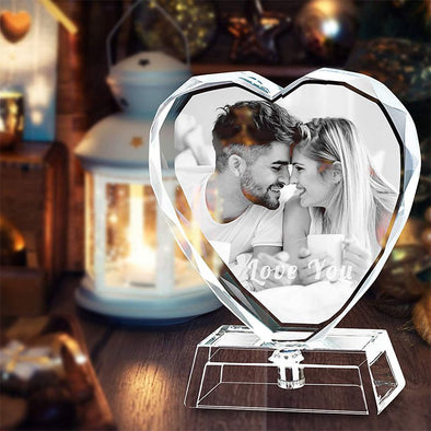Personalized Custom 3D Heart Crystal Photo, Laser Engraved Picture, Customized Heart Crystal Photo with Free LED Base Included