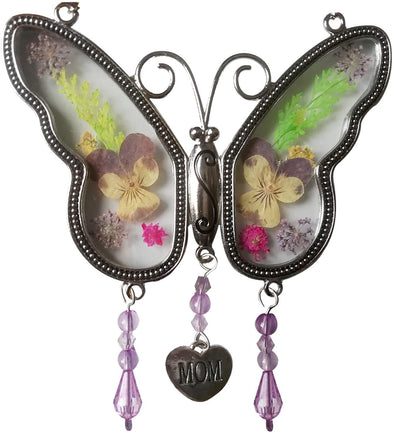 Amlion Glass Butterfly Suncatcherwith Pressed Flower Wings for Windows, Gift for Mom - amlion