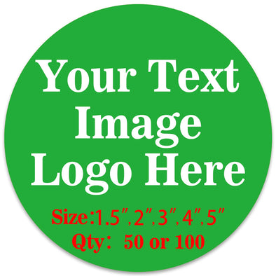 "50PCS Custom Personalized Stickers Labels Round Logo Text Image Tag for Business (SIZE: 3""in Rd)"