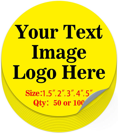 "50PCS Custom Personalized Stickers Labels Round Logo Text Image Tag for Business (SIZE: 1.5""in Rd)"