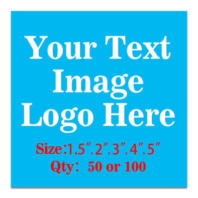 "50PCS Custom Personalized Stickers Labels Square Logo Text Image Tag for Business,Customized (SIZE: 4""square)"