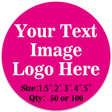 "50PCS Custom Personalized Stickers Labels Round Logo Text Image Tag for Business (SIZE: 2""in Rd)"