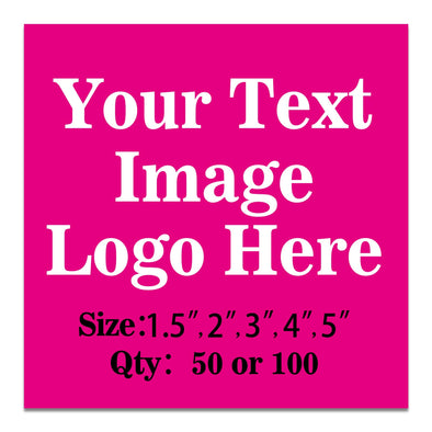 "100PCS Custom Personalized Stickers Labels Square Logo Text Image Tag for Business,Customized (SIZE: 1.5""square)"