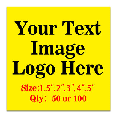 "50PCS Custom Personalized Stickers Labels Square Logo Text Image Tag for Business,Customized (SIZE: 2""square)"