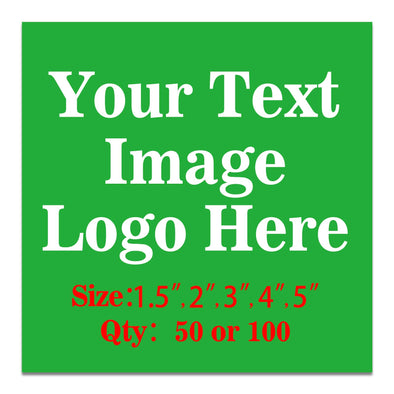 "100PCS Custom Personalized Stickers Labels Square Logo Text Image Tag for Business,Customized (SIZE: 2""square)"