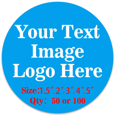 "50PCS Custom Personalized Stickers Labels Round Logo Text Image Tag for Business (SIZE: 4""in Rd)"
