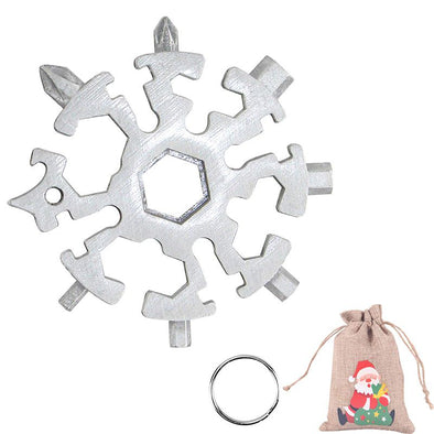 20 in 1 Snowflake Multitool Stainless Steel Combination Tools Screwdriver Christmas Gifts-Silver
