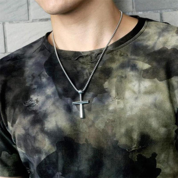 Baseball Bat Cross Pendant Necklace,Athletes Cross Necklace for Men (Gold) - amlion