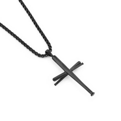 Baseball Bats Cross Necklace, Athletes Cross Pendant Chain,Stainless Steel Cross Necklaces for Men ( Black ) - amlion